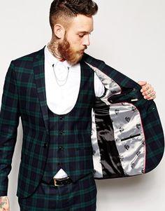 Enlarge Noose & Monkey Tartan Suit Jacket In Skinny Fit