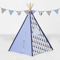 Bacati Elephants Teepee Tent for Kids/Toddlers, 100% Cotton Breathable Percale Fabric Cover, Blue/Grey