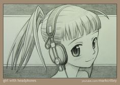 Manga Girl with Headphones by Mark Crilley