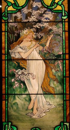 """Mucha """"Spring"""" stained glass window"""