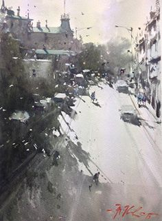 Joseph Zbukvic - Winter Evening, Melbourne 26x35cm