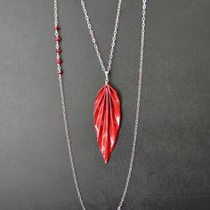 Red paper origami leaf pendant necklace on sterling by MunPaperi