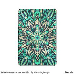 Tribal Geometric teal and blue Mandala iPad Mini Retina Covers