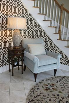 Love the wallpaper!!  Kandrac & Kole Interior Designs, Inc. - Foyer