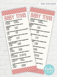 Baby Trivia Instant Download Baby Shower Game   Red Stripes