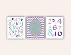 Chevron Monogram Alphabet and Numbers Print by SaraWintersDesigns