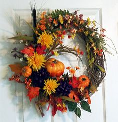 Fall Autumn Grapevine Wreath with Large Small Pumpkins, Mums, Marigolds, Wild Flowers, Purple Yellow Orange, Front Door Wreath, Gift Ideas via Etsy