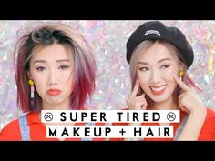 MAKEUP + HAIR FOR SUPER TIRED DAYS! | Look AWAKE When Tired for School! - YouTube