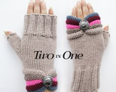 Fingerless gloves Two in One Beige Fingerless Hand Warmers Light Brown Wrist Warmers Knitted Striped Gloves Gift for Woman New Design – armstulpen stricken Crochet Mittens, Crochet Gloves, Fingerless Gloves Knitted, Knitted Hats, Half Gloves, Striped Gloves, Wrist Warmers, Baby Knitting, Crochet Stitches