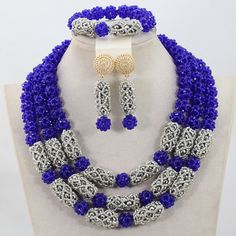 >> Click to Buy << 2017 Unique Royal Blue Balls Crystal Sets Nigerian African Wedding Bridal/Women Beads Necklace Jewelry Set Free Shipping ANJ302 #Affiliate