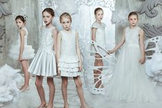 Perfect white ceremony dresses from Mischka Aoki for fall 2015 kids luxury fashion