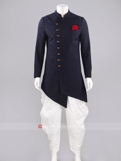 Marvelous Imported long sleeve Indo Western in Navy color with Fancy Buttons Work will create an individual look. Indian Groom Wear, Indian Wear, Mens Kurta Designs, Blouse Designs, Kurta Design For Men, Wedding Sherwani, Sherwani Groom, Mens Sherwani, Prince Suit