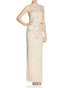 Aidan Mattox Sleeveless Embellished Bodice Overlay Gown | Bloomingdale's