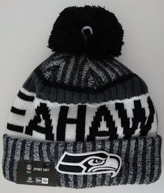 7a6c1a7fc86 Seahawks Black NFL 2017 New Era On Field Sideline Beanie Cuff Knit Pom Hat  Nwt