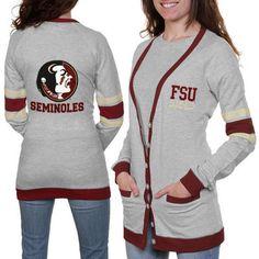 Florida State Seminoles (FSU) Ladies Study Hall Long Sleeve Cardigan - Ash