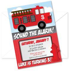 Fire Truck Birthday Party Invitation by littlecelebrations on Etsy, $12.95