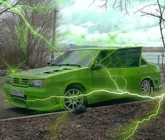 Homestuck Characters, Green Pictures, Street Racing Cars, Pretty Cars, Green Theme, Picture Wall, White Picture, Vaporwave, City Lights