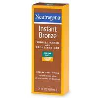 Neutrogena Instant Bronze Sunless Face Tanner and Bronzer, 2  Fluid Ounce by Neutrogena. $33.59. Light, fresh fragrance. Natural-looking tan (medium shade) starts to develop in about an hour. Streak-free formula applies easily and evenly. Please read all label information on delivery. Fast-drying and long-lasting. Sunless Tanner and Bronzer in One   streak-free lotion  instant bronze glow as your sunless tan develops  Get a healthy-looking glow instantly with Ne...
