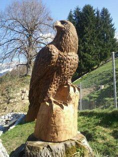Steinadler sind bei mir aus Holz erhältlich. Tree Carving, Wood Carving Art, Wood Art, Wood Sculpture, Sculptures, Eagle Statue, Flavio, Chainsaw, Trees To Plant