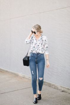 floral top, high-waisted skinny jeans