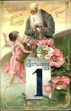 Wishing You A Happy New Year Angels & Cherubs, 1908