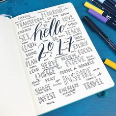 Bullet journal inspiration something like this is going to be the first page of my journal. Lots of positive words and welcoming in 2017! Happy New Year!!