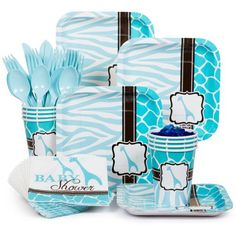Wild Safari Blue Standard Kit (Serves 8) - Decoration Kits & other Decorations from Birthday in a Box Baby Shower Giraffe, Boy Baby Shower Themes, Baby Shower Favors, Free Baby Shower Games, Baby Shower Decorations, Baby First Birthday, Safari Theme, Safari Party, Jungle Safari