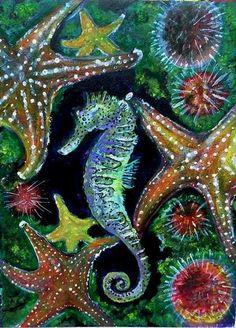 Under water world,sea horse,marine life art print.