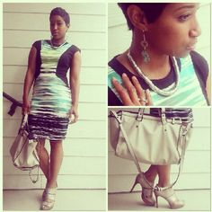 """Rocking the """"Abrtract Art"""" Spring '14 trend with this fitted dress and silver jewelry & accessories ~The Style Maven"""