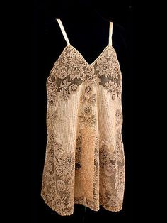 "French silk/lace teddy, circa 1925. Label: ""Made in France."""