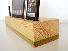 iPad dock / iPhone dock / iPod dock - dual dock from wood with extra USB port - modern design on Etsy, $130.00