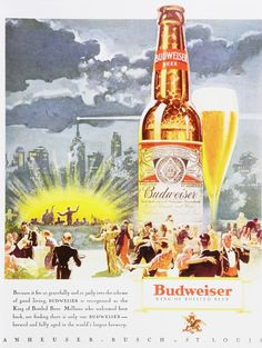 Vintage Budweiser Ads of the Retro Ads, Vintage Advertisements, Vintage Ads, Vintage Posters, Beer Advertisement, Advertising, Pizza And Beer, Beer Poster, Home Brewing Beer