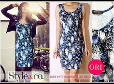 let's shop here : STYLE & CO BLUE PATTERN BODY CON