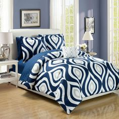 Brooklyn Navy Blue Print 8-Piece Bed in a Bag Set | Overstock.com Shopping - The Best Deals on Comforter Sets