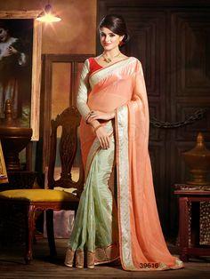 #Designer Sarees#Peach & Green#Indian Wear #Desi Fashion#Natasha Couture#Indian Ethnic Wear
