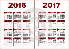 календарь для 2016 2017 красный чёрный буквы фигуры белый фон