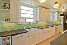 Kitchen backsplash and bathroom tile ideas with green glass subway tile Surf