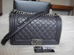 A grey Chanel Boy bag in medium with silver hardware <3 Perfection!