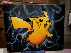 Items similar to Pikachu Pokemon with Lightning (or fire or any background you like) on Etsy Pokemon Painting, Panda Painting, Cartoon Painting, Painting For Kids, Canvas Board Painting, Cute Canvas Paintings, Canvas Painting Tutorials, Pikachu Pikachu, Disney Canvas Art