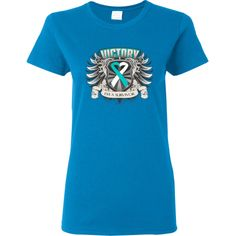 Celebrate your cancer victory with Cervical Cancer Victory...I'm a Survivor Women's T-Shirt featuring a heraldry design with a heart ribbon #CervicalCancer #CervicalCancerSurvivor #CervicalCancerShirts
