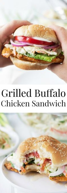 Grilled Buffalo Chicken Sandwich -a super easy recipe for juicy grilled chicken breast coated in a spicy buffalo sauce! Grilled Chicken Burgers, Buffalo Chicken Burgers, Grilled Buffalo Chicken, Spicy Grilled Chicken, Buffalo Chicken Sandwiches, Chicken Sandwich Recipes, Lunch Recipes, Cooking Recipes, Grilled Meat
