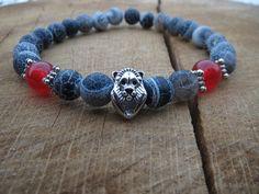Black Lace Agate Bracelet Lion Power Bracelet by BohemianChicbead