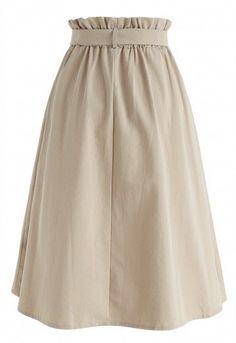 Truly Essential A-Line Midi Skirt in Tan – Retro, Indie and Unique Fashion – Schnittmuster A Line Skirt Outfits, Casual Skirt Outfits, A Line Skirts, Girl Outfits, Unique Fashion, Skirt Fashion, Fashion Dresses, Muslim Fashion, Hijab Fashion