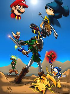 Smash Brothers Vs Kingdom Hearts. God, damn Square Enix and Nintendo must make a game like this!!!
