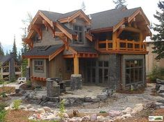Samuelson Timberframe Design - distinctive timberframe I wish the timber details were smaller or the house bigger. but I would spend every waking min on that floor porch! Log Cabin Homes, Log Cabins, Timber Frame Homes, Timber Frames, Cabins And Cottages, House Goals, Exterior Design, Exterior Paint, Cabin Exterior Colors