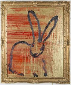 Bunny in Red and Gold, 2013, by Hunt Slonem Contemporary Art, Hunting Slonem