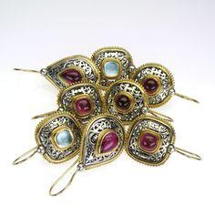 Gerochristo Earrings Sterling Silver and Gold 18-karat Made in Greece