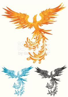 Phoenix in 3 different colors, change color to the phoenix is easy, simply select the phoenix and change the gradient's color.