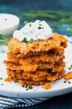 These savory sweet potato pancakes are perfect for lunch or dinner. Pair them with a chive dipping sauce for the perfect combination of sweet and savory. Lunch Recipes, Baby Food Recipes, Beef Recipes, Dinner Recipes, Healthy Recipes, Yummy Recipes, Dinner Ideas, Most Delicious Recipe, Delicious Food