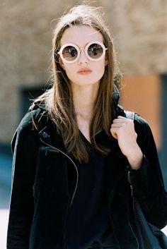 White rimmed round (circle) sunglasses